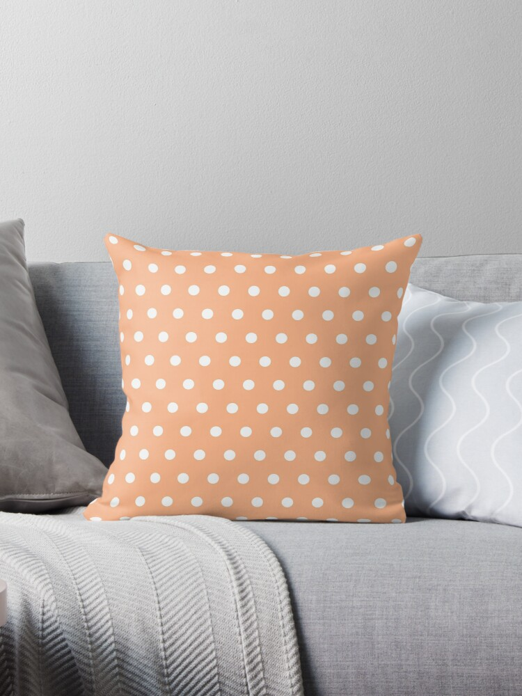 Small White Polka Dots on Peach background by ImageNugget
