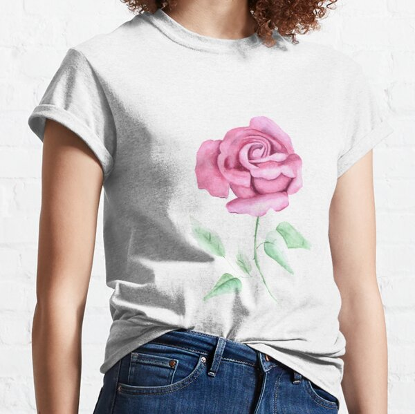 pink watercolour rose painting  Classic T-Shirt