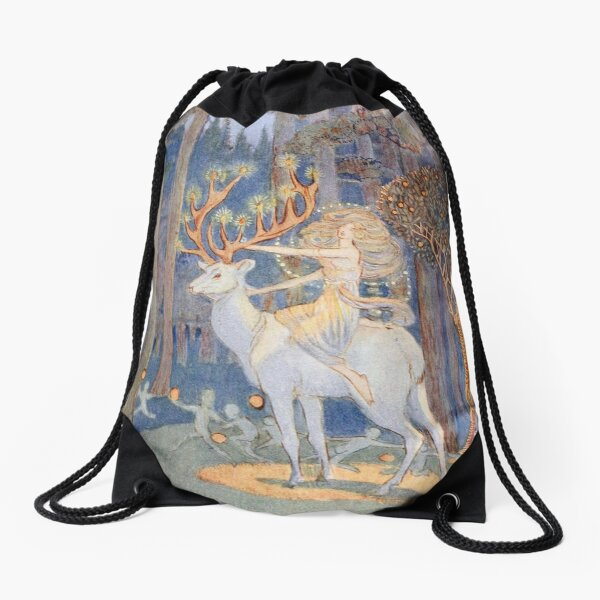 Magical Forest Christmas by Jessie Bayes Drawstring Bag