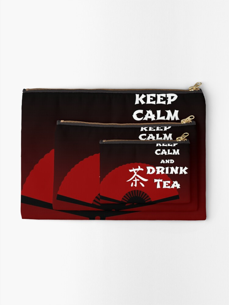 Alternate view of Keep Calm and Drink Tea - dark asia edition Zipper Pouch