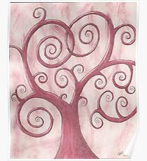 Pink Tree Drawing Watercolor with Prisma Marker Poster