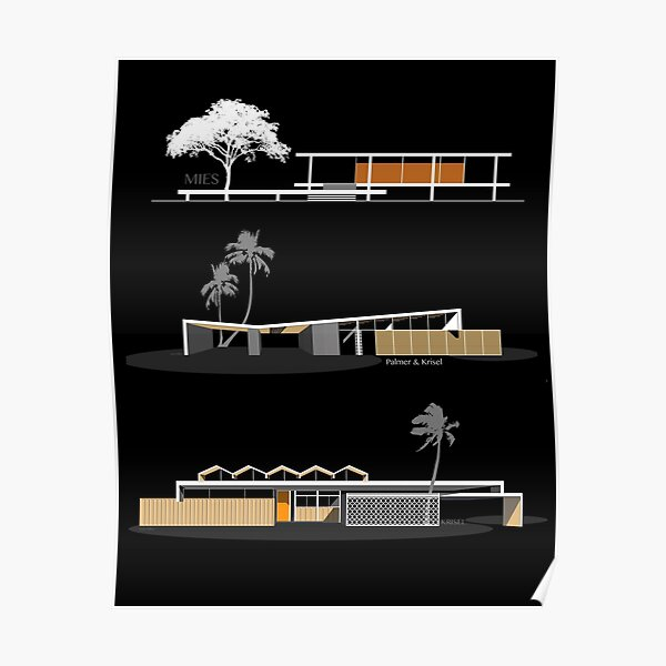 MCM Architecture Houses Trio # 1 Poster