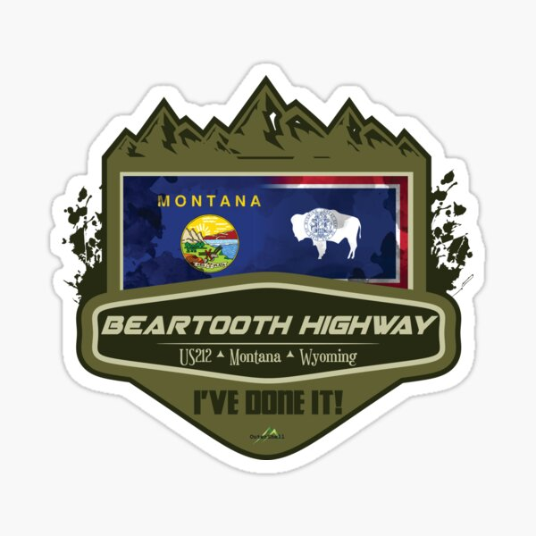 Beartooth Highway US 212 Motorcycle Car RV Cycle Sticker & T-Shirt 03 Sticker