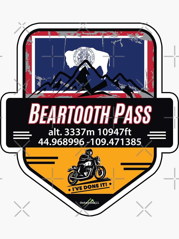 Beartooth Pass US 212 Motorcycle Car RV Cycle Sticker & T-Shirt 02 by OuterShellUK