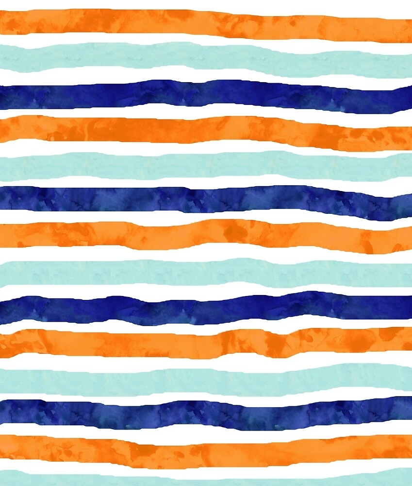 Navy orange sky blue watercolor hand-drawn stripes by dreamingmind