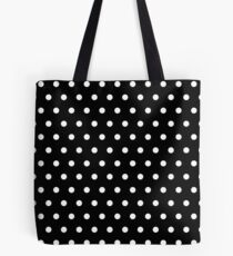 Small White Polka Dots on Black background Tote Bag