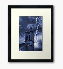 Church Bell Tower in Storm Framed Print