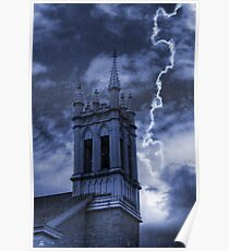 Church Bell Tower in Storm Poster