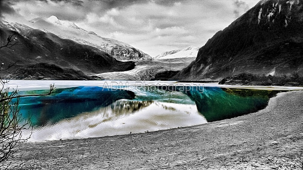 Reflection of Mendenhall Glacier in Juneau, Alaska by Amber D Hathaway Photography