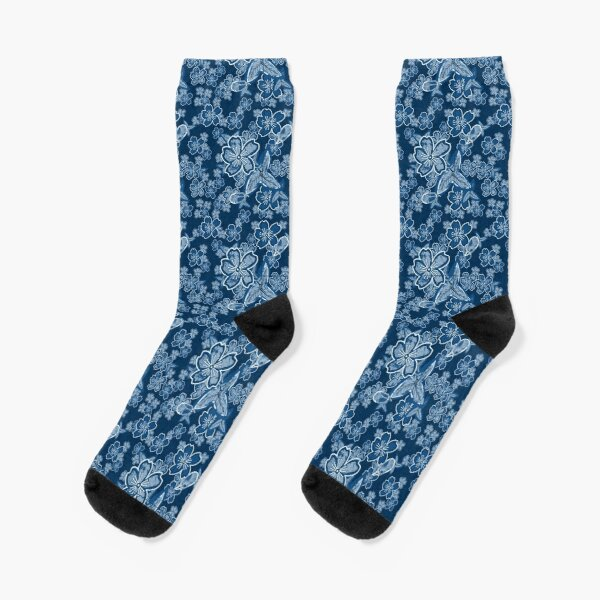 Dark Limited Blue Floral Socks