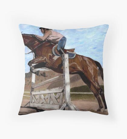 The Jumper - Horse & Rider Practicing Their Jumping Skills Throw Pillow