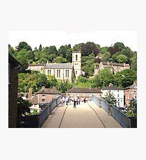 Walking across the bridge at Iron Bridge Photographic Print