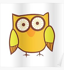 Cute Owl Orange Yellow Poster