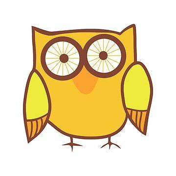 Cute Owl Orange Yellow by gopinat