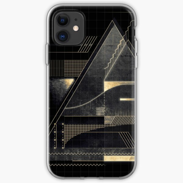 Composition of golden abstract geometry iPhone Soft Case