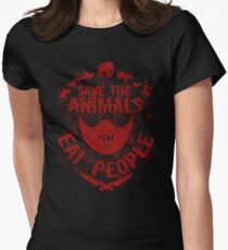 save the animals, eat people (red) Women's Fitted T-Shirt
