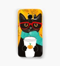 Pumpkin Coffee Cat Samsung Galaxy Case/Skin
