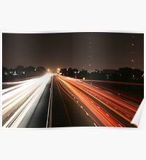 Night Time Travel Light Trails Poster
