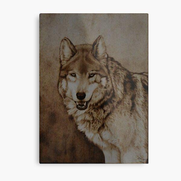 Pyrography Wolf Fine Art - Mexican Grey Wolf Metal Print