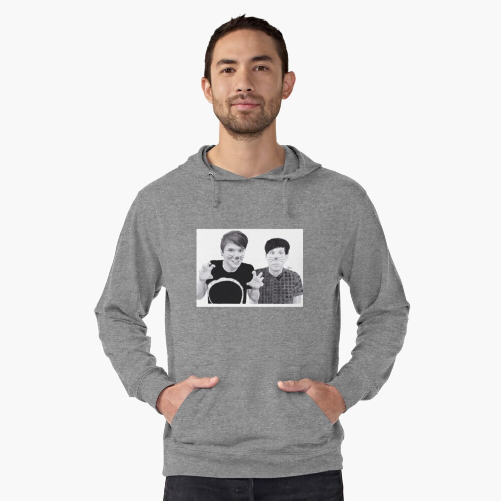 dan and phil b&w Lightweight Hoodie Front