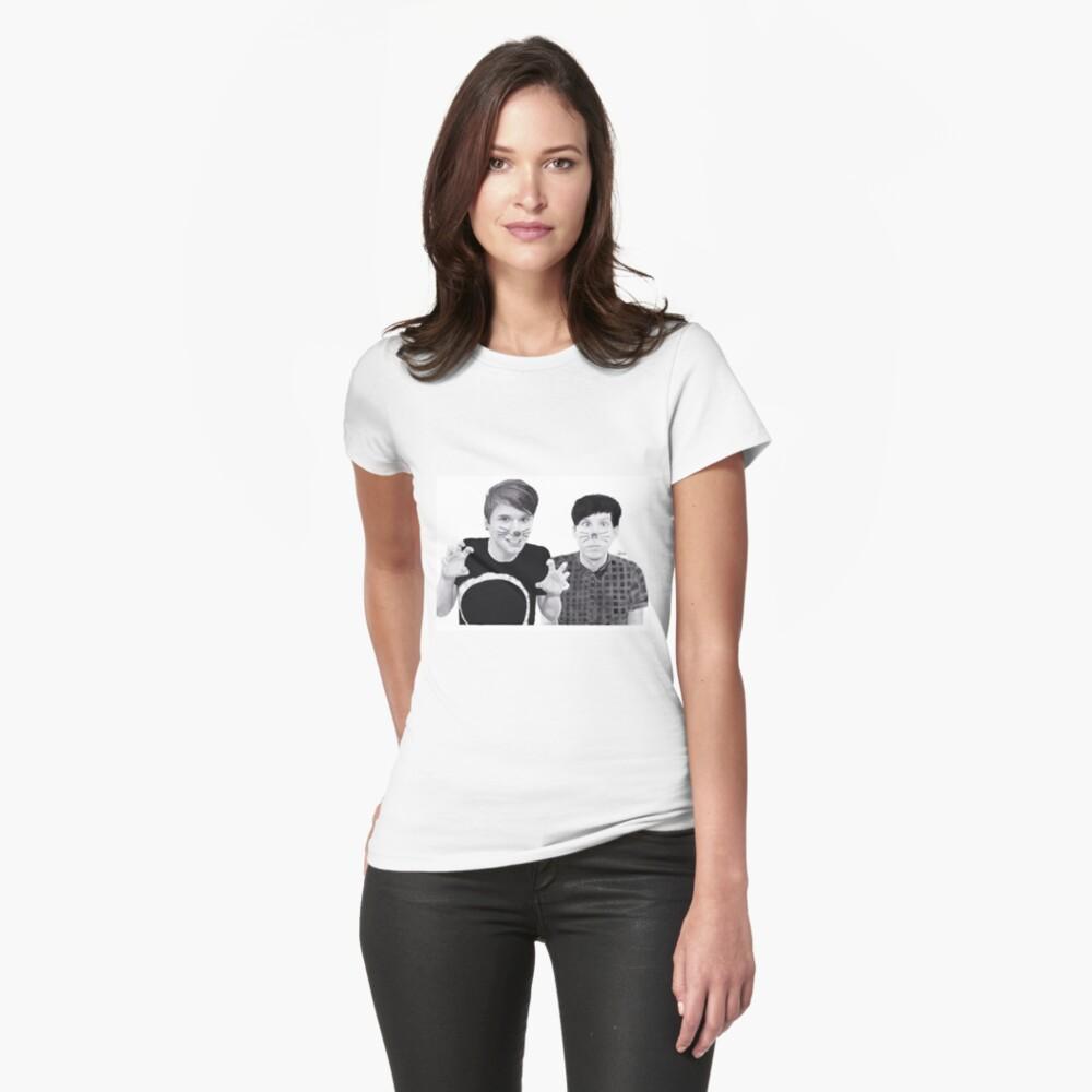 dan and phil b&w Womens T-Shirt Front