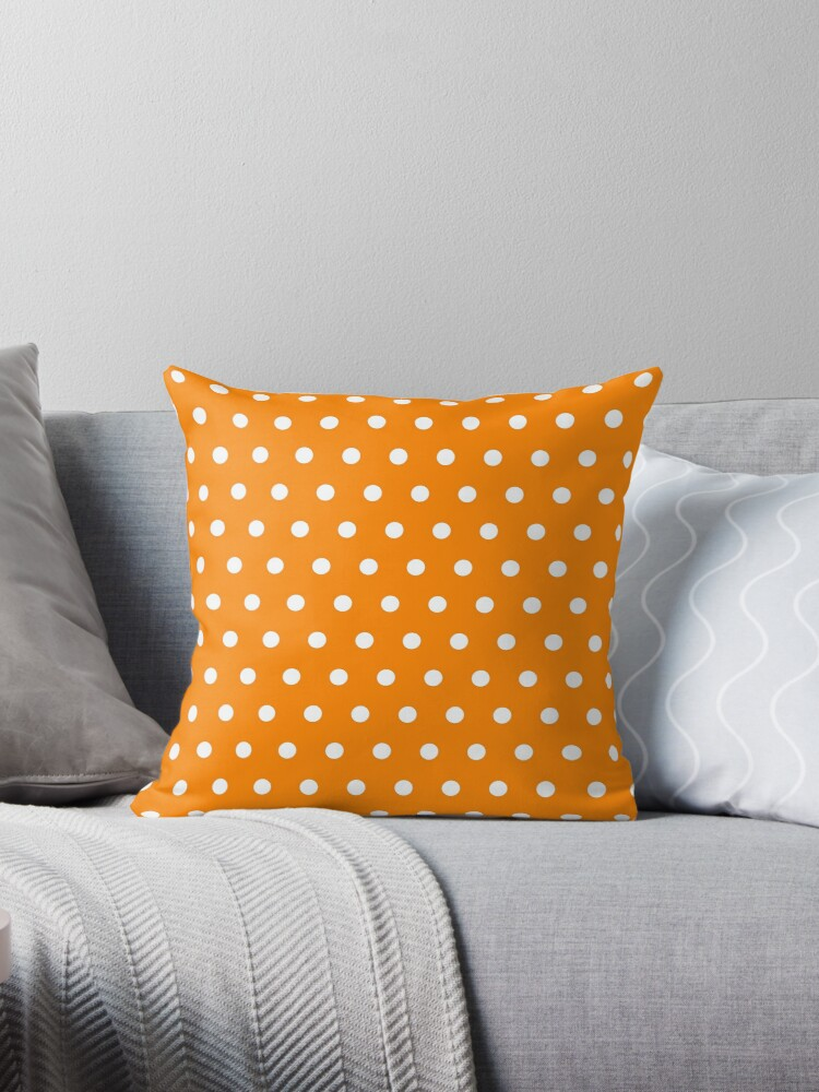 Small White Polka Dots on Orange background by ImageNugget