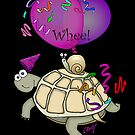 Turtle and Snail Cartoon Having Birthday Fun! by graphicdoodles