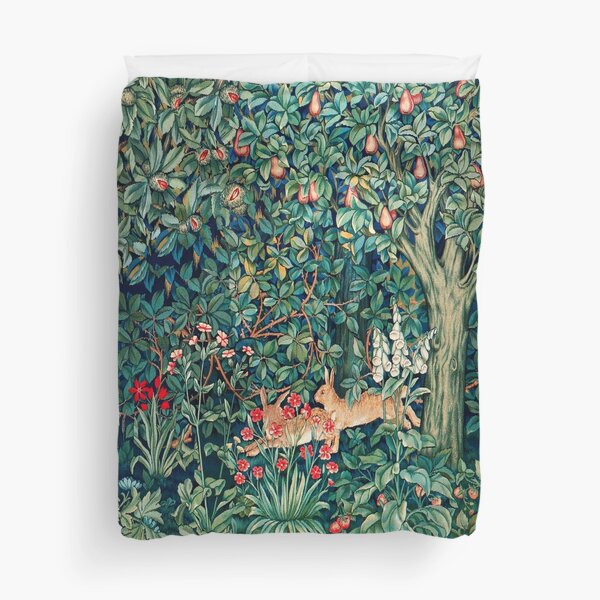 GREENERY, FOREST ANIMALS Hares Blue Green Red Floral Tapestry Duvet Cover