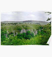 Across Cressbrook Dale to Ravens Crag Poster