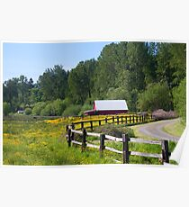 Red Barn & Wildflowers Poster
