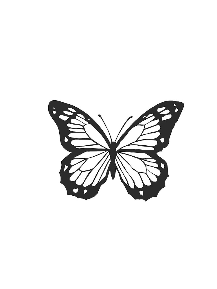 Black Monarch Butterfly Outline Greeting Card By Savannahgibson Redbubble