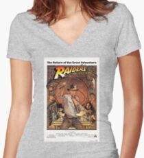 Raiders of lost ark indiana jones Women's Fitted V-Neck T-Shirt