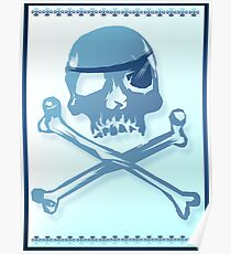 Blue Pirate Skull and Crossbones. Poster