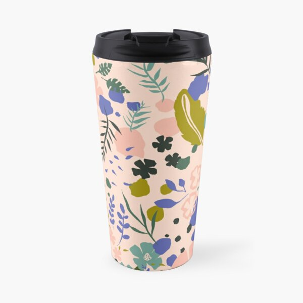 Pink and green flower Travel Mug
