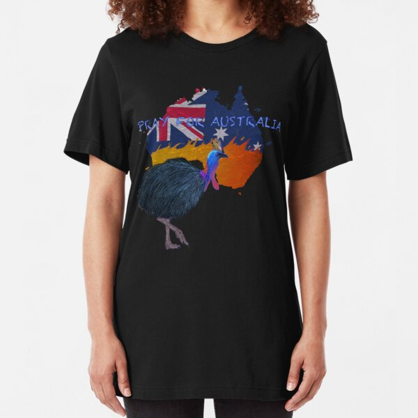 Pray for Australia Cassowary Slim Fit T-Shirt