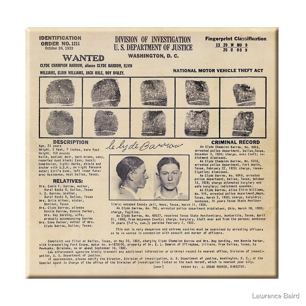 Clyde Barrow Wanted by Lawrence Baird