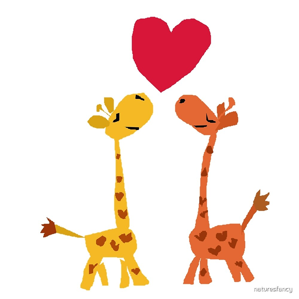 Funny Baby Giraffes in Love Art Original  by naturesfancy