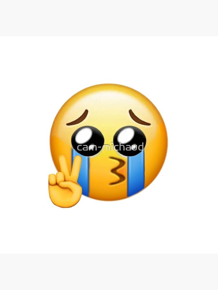 Impression Rigide Pleurer Signe Paix Emoji Par Cam Michaud Redbubble