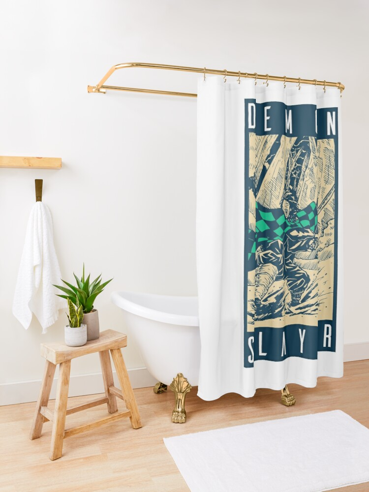 Alternate view of Demon Slayer Vintage Shower Curtain