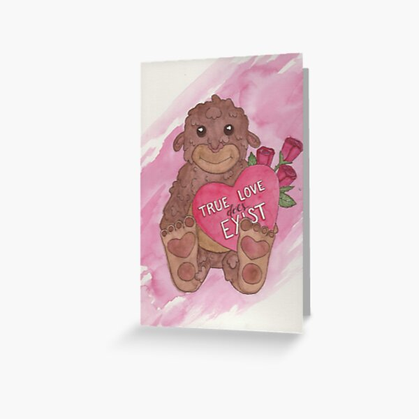 Bigfoot Valentine's Day Card Greeting Card