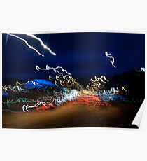 Cars driving motion night lights Poster