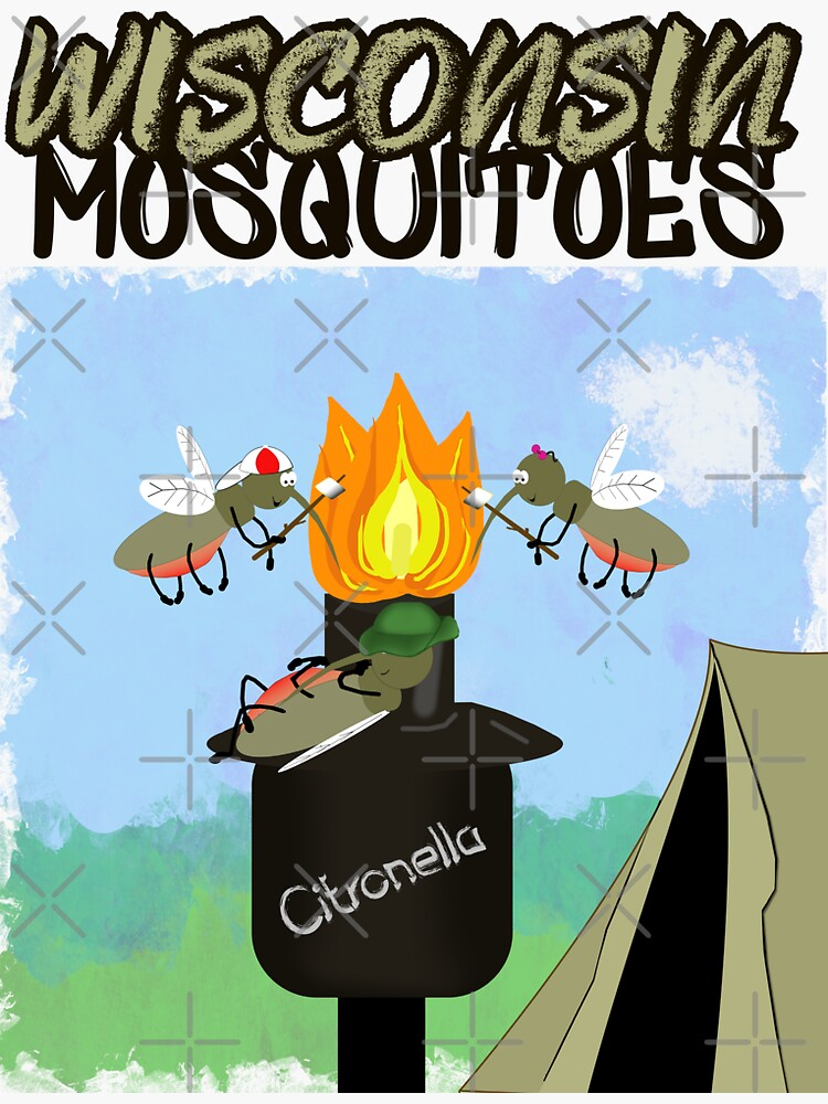 Wisconsin Mosquitoes Cartoon - Camping by Tiki Torch by ButterflysAttic