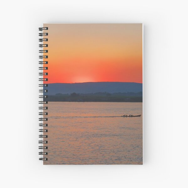 Sunset on the Irrawaddy River, Myanmar Spiral Notebook