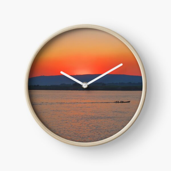 Sunset on the Irrawaddy River, Myanmar Clock