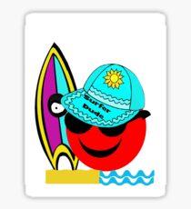 Red Smiley Surfer Dude Sticker