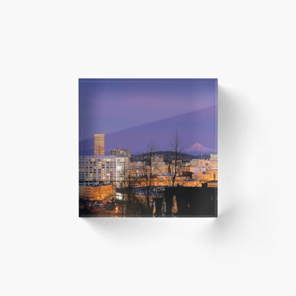 Portland Cityscape at Dusk Acrylic Block
