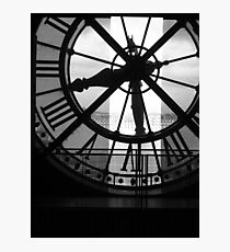 Musee D'Orsay Black & White Clock Photographic Print