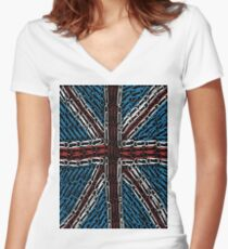 The Union Jack of Paper Clips! Women's Fitted V-Neck T-Shirt