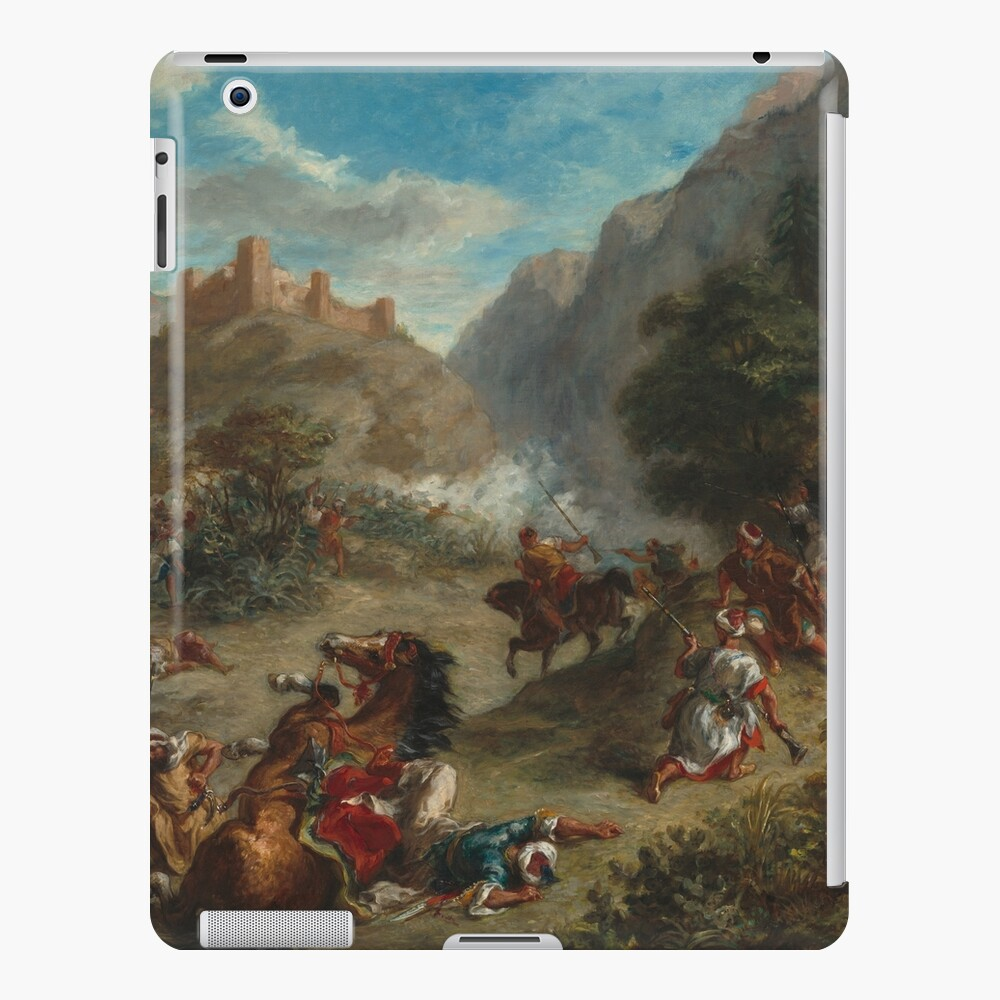 Arabs Skirmishing in the Mountains Oil Painting by Eugène Delacroix iPad Case & Skin
