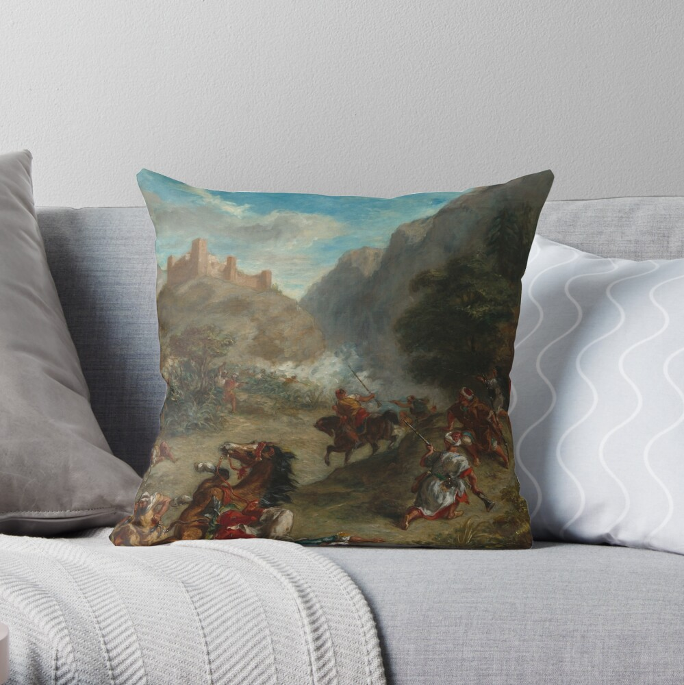 Arabs Skirmishing in the Mountains Oil Painting by Eugène Delacroix Throw Pillow
